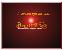Snuggables Gift Card front cover professionally printed on glossy card stock