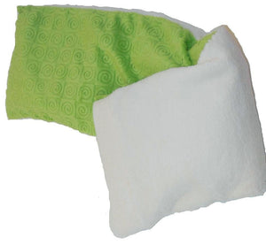 "Spa Wrap - folded top view - long rectangle shoulder heating pad 7""x24""-kiwi swirl velour"