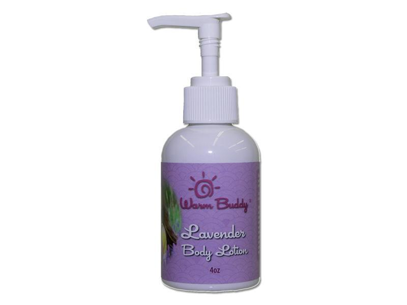 White 4 oz pump bottle of Lavender Body Lotion - lavender label with  Warm Buddy logo