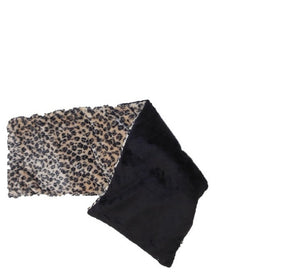 "Spa Wrap - folded top view - long rectangle shoulder heating pad 7""x24""-leopard fur velour"