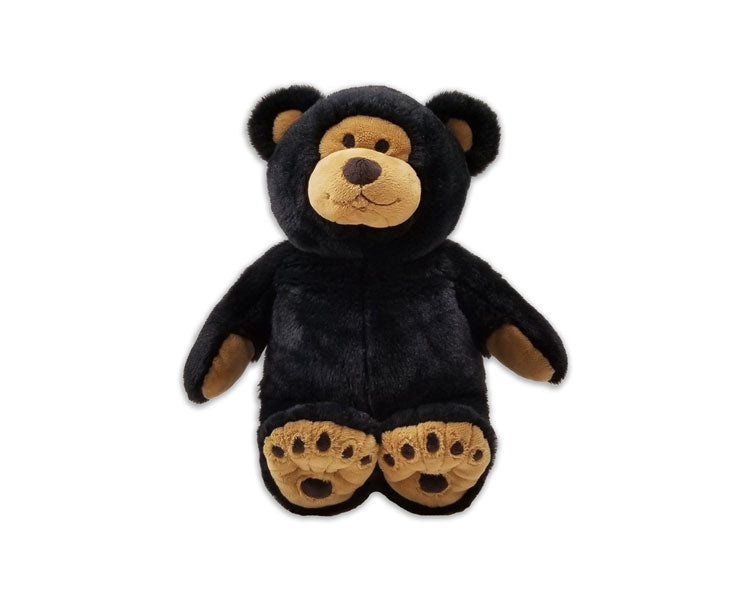 Little Buddy black & tan teddy bear w/ stitched eyes & nose & bear paw print feet