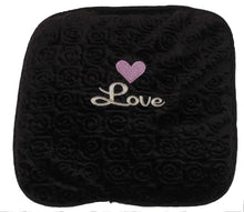 "Small stomach heating pad 9""x9"" - embroidered pink heart-""Love"" text on brown velour-top view"