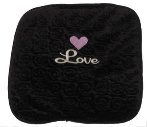 "Small square heating pad 9""x9"" - embroidered pink heart over script ""Love"" text on chocolate brown swirl velour fabric -top view"