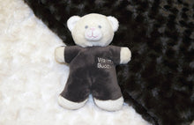 NEW Cream and Chocolate Plush Rosebud Fur Baby Blanket Set (with Mini Teddy Bear)