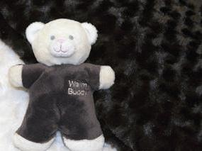 Chocolate Plush Rosebud Fur Baby Blanket Set (with Mini Teddy Bear)