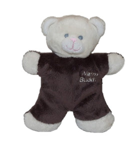 Miniature baby smiling teddy bear - cream & brown - Warm Buddy logo on left chest