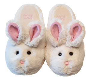white fur bunny slippers w/black button eyes; pink nose, ears & mouth