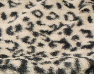 Fabric square -black snow leopard print on cream faux fur background