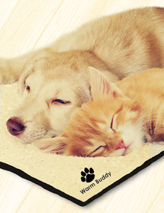 Yellow Labrador dog & ginger kitten laying on tan Warm Buddy dog heating heat pad