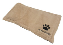 Tan dog heating pad w/embroidered paw & Warm Buddy logo