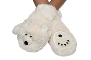 Polar bear paw print mittens - white fur with polar bear face on top, paw print on palm and furry cuffs