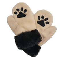 Puppy paw print mittens -tan fur with black paw prints and furry cuffs