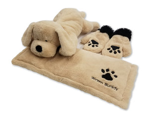 Golden labrador stuffed animal on Warm Buddy pet warming pad with puppy paw paw print mittens -tan fur with black features