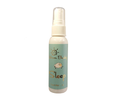 White spray bottle -2oz Warm Buddy sleep travel mist -aqua label with gold print