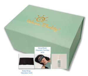Sleep Therapy Gift Set -inset pictures of Body Wrap - Chocolate swirl, sleep mask,- chocolate silk bamboo on woman's eyes, sleep mist -travel size - in front of aqua w/gold printed Warm Buddy logo on top - top angle view