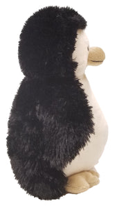 Penguin -side -baby puppet stuffed animal- black w/white Warm Buddy embroidered chest & web feet
