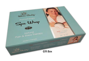 Gift box for Spa Wrap -aqua w/gold printed Warm Buddy logo on top -photo of woman with long heating pad around neck shoulders