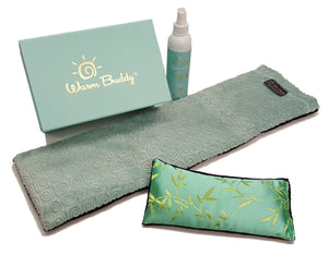 Spa Therapy Gift Set -pieces outside of gift box: eye pillow -aqua silk bamboo print, spa wrap- aqua swirl velour & spa aromatherapy mist 8oz - front view