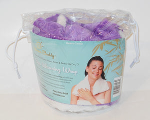 Clear plastic drawstring Spa Wrap package -photo of woman with long heating pad around neck & shoulders -Warm Buddy logo on aqua label