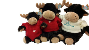 Little Buddy and two large moose stuffed animals wearing red & cream sweaters embroidered with hearts & Warm Buddy logo
