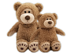 "Tan Big & Little Buddy Beary-microwave heated teddy bears 18"" and 11"" side by side- front view"