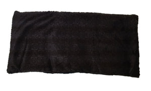 "Top angle view -rectangle body wrap 9""x19"" -brown swirl velour -reverse side black velour"
