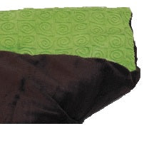 "Folded top view -rectangle body wrap 9""x19"" -kiwi green swirl velour -reverse side black velour"