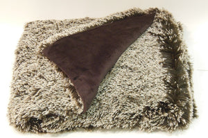 chocolate brown shaggy fur throw blanket - folded corner brown plush fur