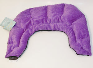 U-shaped shoulder wrap  - violet purple swirl velour - top view