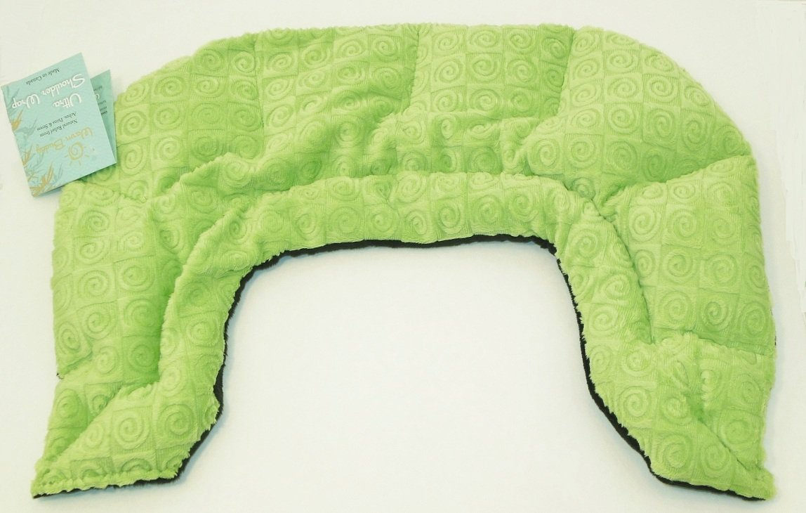 U-shaped shoulder wrap  - kiwi green swirl velour - top view