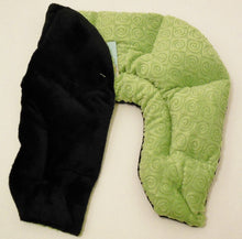 U-shaped shoulder wrap  - kiwi green swirl velour - folded top view