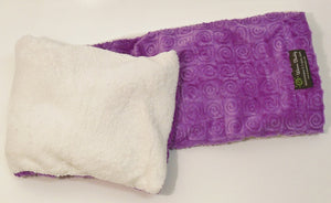 "Spa Wrap - folded top view - long rectangle shoulder heating pad 7""x24""-violet swirl velour"