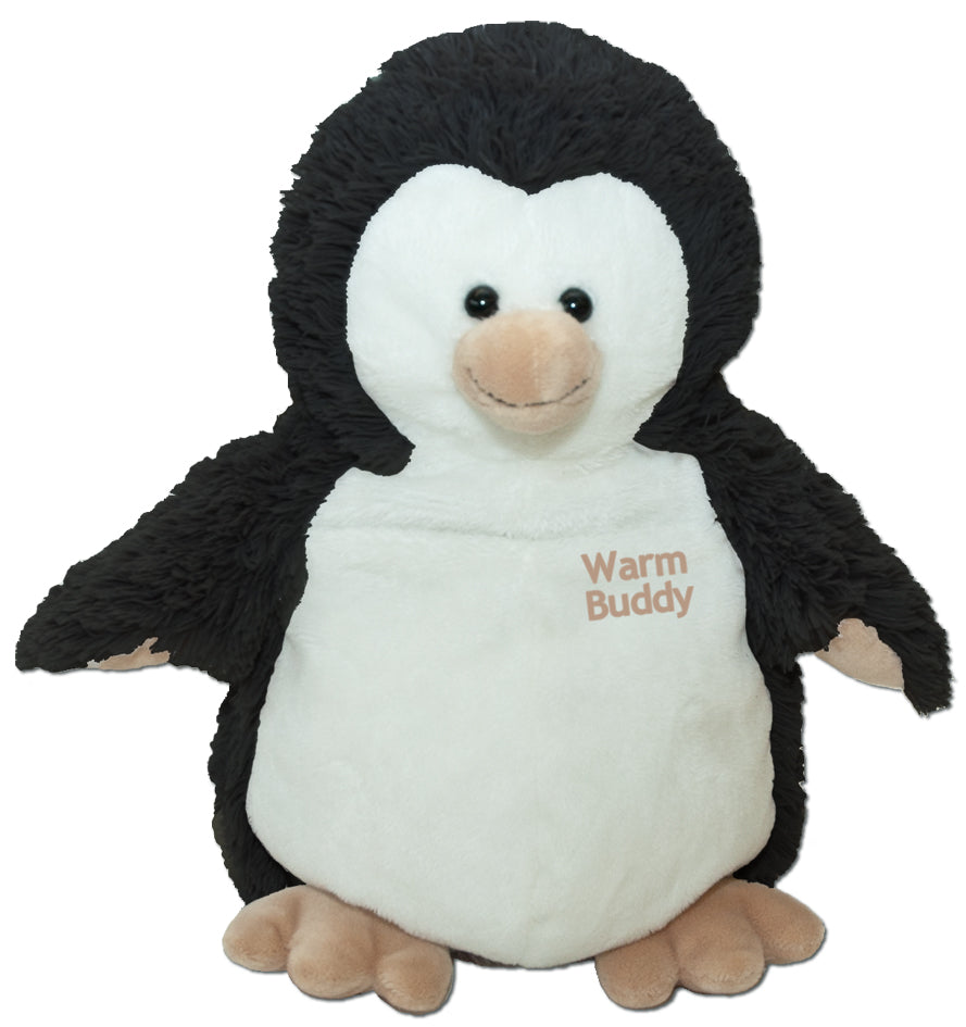 Penguin baby puppet stuffed animal- black w/white Warm Buddy embroidered chest & web feet