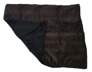 "Square microwavable warming blanket 15""x19""- chocolate brown swirl - top folded corner view - black reverse side black fur"