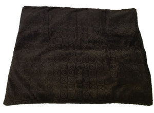 "Square microwavable warming blanket 15""x19""- chocolate brown swirl - top view"