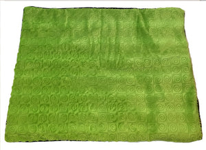 "Square microwavable warming blanket 15""x19""- kiwi green swirl - top view"