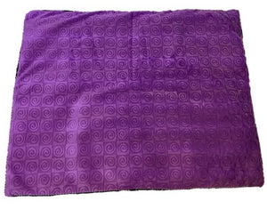 "Square microwavable warming blanket 15""x19""- violet purple swirl - top view"