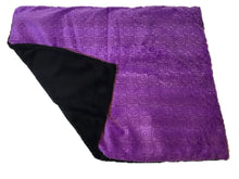 "Square microwavable warming blanket 15""x19""- violet purple swirl - top folded corner view - black reverse side black fur"