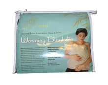Plastic zippered packaging front cover view of Warming Blanket - woman with heated blanket covering torso