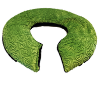 Top angle view -C-shaped shoulder wrap-kiwi green swirl velour