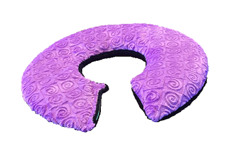 Top angle view- C-shaped shoulder wrap- purple violet swirl velour -reverse side black velour