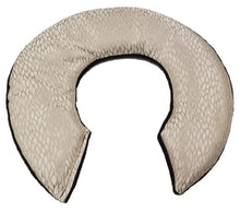 C-shaped shoulder heating pad in gold silk fabric-angle view