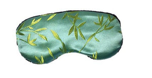 Sleep mask - aqua blue silk with shimmering gold bamboo leaf pattern embroidery fabric.