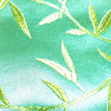 Fabric square -aqua blue silk with shimmering gold bamboo leaf pattern embroidery