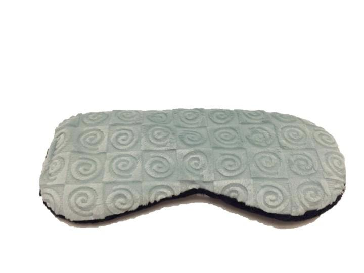 Sleep mask - aqua blue swirl Oh-So-Soft velour fabric - top angle view