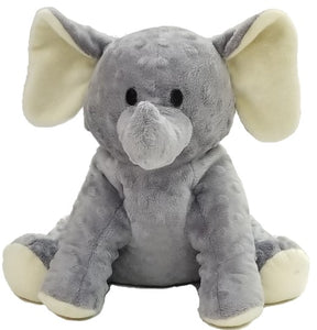 Baby elephant: puppet stuffed animal front, raised dot gray fur, big floppy ears, stitched eyes