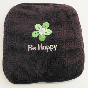 "Small square heating pad 9""x9"" - embroidered daisy over ""Be Happy"" text on chocolate brown swirl velour fabric- top view"