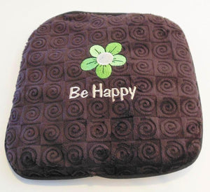 "Small stomach heating pad 9""x9"" - embroidered daisy over ""Be Happy"" text -brown velour - angle view"
