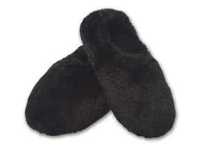 Black furry heated slippers -elasticized around ankles