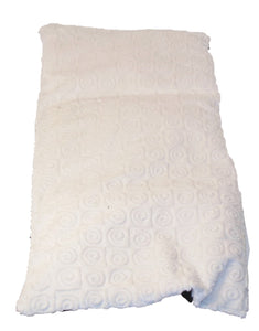 "Top angle view -rectangle body wrap 9""x19"" -cream swirl velour"
